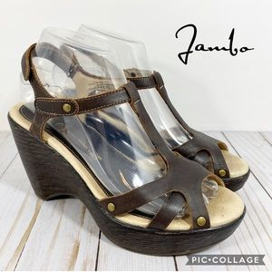 Jambu Marble T-Strap Brown Leather Sandals 7